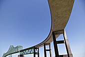 Astoria, Oregon, view of the Astoria Bridge which crosses the Columbia River between Oregon and Washington, USA