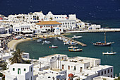Views of the port of Hora from a hillside on the Greek Island of Mykonos, Greece.
