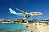 A Corsair 747 landing over Mahalo Beach, Sint Maarten, Netherland Antilles, 2008