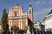 The Franciscan Monastery and the Church of Annunciation was built in the period from 1646 to 1660. Its facade, which was finished around the year 1700, reconstructed in the 19th century and renovated in 1993. Ljubljana city. Slovenia