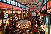 Market Hall Schrannenhalle with christmas decoration, Munich, Upper Bavaria, Germany