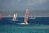 Sailboarders on the water at the Golden Horn, Bol, Brac Island, Dalmatia, Croatia, Europe