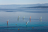 Sail boarders on the water at the Golden Horn, Bol, Brac Island, Dalmatia, Croatia, Europe