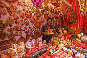 Colorful Chinese New Year Decorations for sale in Chinatown, Singapore
