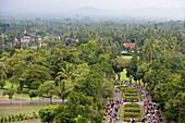 View from Borobudur Temple, Borobudur, Central Java, Java, Indonesia, Asia
