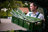 Farmer holding box with green onions, biological dynamic (bio-dynamic) farming, Demeter, Lower Saxony, Germany