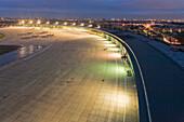 Tempelhof Airport at night, apron, runway, Berlin, Germany
