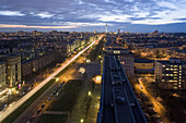 View along Karl-Marx-Allee to television tower, Berlin, Germany