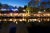 restaurants, cafés, bars at Flutgraben in the evening, canal, Treptow, Berlin, Germany