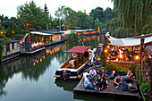 Club der Visionaere, restaurants, cafés, bars at Flutgraben in the evening, canal, Treptow, Berlin, Germany