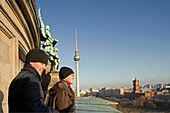visitors, outer walkway of the Berliner Dom, views of TV tower Alex and Rotes Rathaus, Berlin Germany