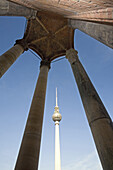 Columns of the Red Town Hall, televison tower in background, Berlin, Germany
