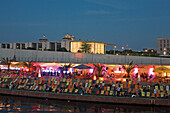 Bar at river Spree in the evening, Berlin, Germany