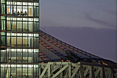 conference rooms at night, Bahntower, Potsdam Square, Potsdamer Platz, Sony Center roof, Berlin, Germany
