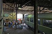 People visiting the engine depot Schöneweide, Treptow-Köpenick, Berlin, Germany, Europe