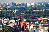 View over Berlin's roofs with Heilig Kreuz church and mosque, Kreuzberg, Berlin Germany, Europe