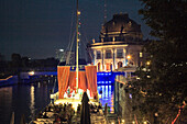 The illuminated theater ship MS Marie during a representation in the evening, Berlin, Germany, Europe