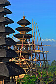 Workers on bamboo scaffolding at the balinese main temple Besakih, Bali, Indonesia, Asia