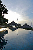 The deserted Infinity pool at Amankila Resort in the morning, Candi Dasa, Eastern Bali, Indonesia, Asia
