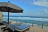 Sunloungers at the beach of the Bulgari Resort, Bukit Badung, Southern Bali, Indonesia, Asia