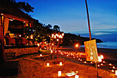 Illuminated pavilion at the beach of the Four Seasons Resort, Jimbaran, Soutern Bali, Indonesia, Asia