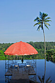 Water basin with pavilion on the roof of a restaurant, Kupu Kupu Barong Resort, Ubud, Indonesia, Asia