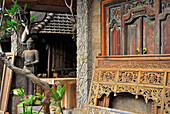 Antiques in front of a shop at Mas, Bali, Indonesia, Asia