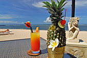 Fruit drink on a table at the beach, Nusa Dua Beach Hotel, Nusa Dua, South Bali, Indonesia, Asia