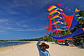 Kite vendor at the beach of Nusa Dua Beach Hotel, Nusa Dua, South Bali, Indonesia, Asia