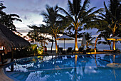The deserted pool of the Puri Dajuma Hotel in the evening, Pekutatan, West Bali, Indonesia, Asia