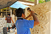 Two stone cutters at work, Central Bali, Indonesia, Asia
