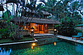 Pool in front of a bungalow at Amandari Resort in the evening, Yeh Agung valley, Bali, Indonesia, Asia