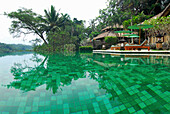 Deserted pool at Amandari Resort, Yeh Agung valley, Bali, Indonesia, Asia