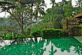 The deserted pool in the garden of the Amandari Resort, Yeh Agung valley, Bali, Indonesia, Asia