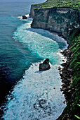 View at a cliff in the surf, Pura Luhur Uluwatu, South Bali, Indonesia, Asia