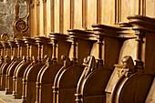 Stalls in the Église abbatiale Saint Pierre, Abbey church SaintPaul, The Way of St. James, Roads to Santiago, Chemins de Saint-Jacques, Via Lemovicensis, Solignac, Dept. Haute-Vienne, Région Limousin, France, Europe