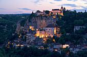 View of Rocamadour in the evening light, The Way of St. James, Roads to Santiago, Chemins de Saint-Jacques, Via Podiensis, Dept. Lot, Région Midi-Pyrénées, France, Europe