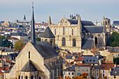 Town of Poitiers with Cathedral St Pierre, Chapel Sainte Radegonde, The Way of St. James, Chemins de Saint Jacques, Via Turonensis, Poitiers, Dept. Vienne, Région Poitou-Charentes, France, Europe