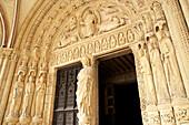 Saint Stephen's Cathedral in Bourges, Bourges Cathedral, South door, The Way of St. James, Chemins de Saint Jacques, Via Lemovicensis, Bourges, Dept. Cher, Région Centre, France, Europe