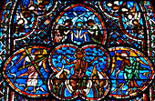 Stained glass window in Saint Stephen's Cathedral in Bourges, Bourges Cathedral, The Way of St. James, Chemins de Saint Jacques, Via Lemovicensis, Bourges, Dept. Cher, région Centre, France, Europe