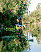 A man in a boat between swimming islands, Canales Embarcadero, Xochimilco, Mexico, America