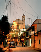 View at the church of the village Ixtuacan de los Reyes in the evening, Veracruz province, Mexico, America