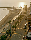 View at the deserted promenade Playa Villa del Mar at sunrise, Veracruz, Veracruz province, Mexico, America