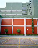 Empty parking lot at the backyard of a hotel, Coyoacan, Mexico City, Mexico, America