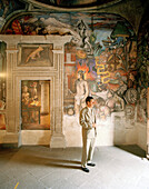 Mural painting shows conquest of Mexico by Hernando Cortes, interior view of Casa Municipal, Centro Historico, Coyoacan, Mexico City, Mexico, America