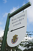 Sign at the Wine Information Center, Franschhoek, Western Cape, South Africa, Africa