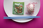 Chinese food, Chopstick, Chopsticks, Close up, Close-up, Closeup, Color, Colour, Concept, Concepts, Dehydration, Detail, Details, Dish, Dishes, Dried, Dry, Food, Foodstuff, Gastronomy, Green vegetable, Green vegetables, Hard-boiled egg, Hard-boiled eggs,