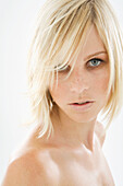 Adult, Adults, Blonde, Blondes, Carnal, Carnality, Close up, Close-up, Closeup, Color, Colour, Contemporary, Daytime, Facing camera, Fair-haired, female, Head & shoulders, Head and shoulders, headshot, headshots, human, indoor, indoors, interior, Looking