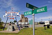 Alaska Avenue Street sign in Dawson Creek British Columbia B.C. Canada Beginning of the Alaska Highway Al_Can ALCAN Mile Zero City