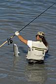 Fishermen Fishing for Salmon in Alaska Railroad Ship Creek Fishing Area Downtown Anchorage Alaska AK U S United States